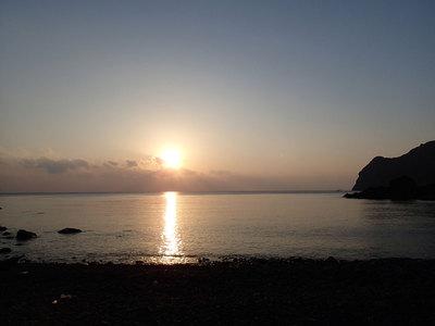 富戸の浜 夕陽 キャンプ